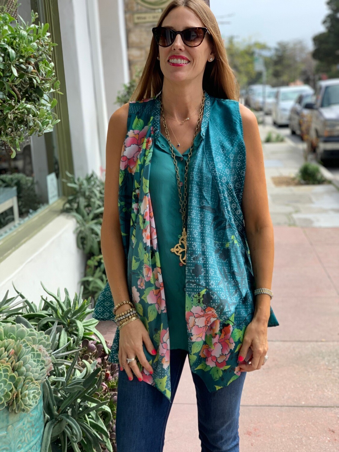 Johnny Was Teal Silk Tunic