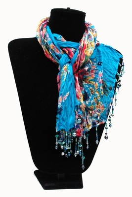 Blue with Pink Scarf