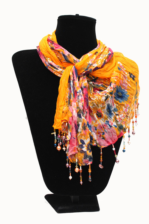 Yellow with Pink Scarf