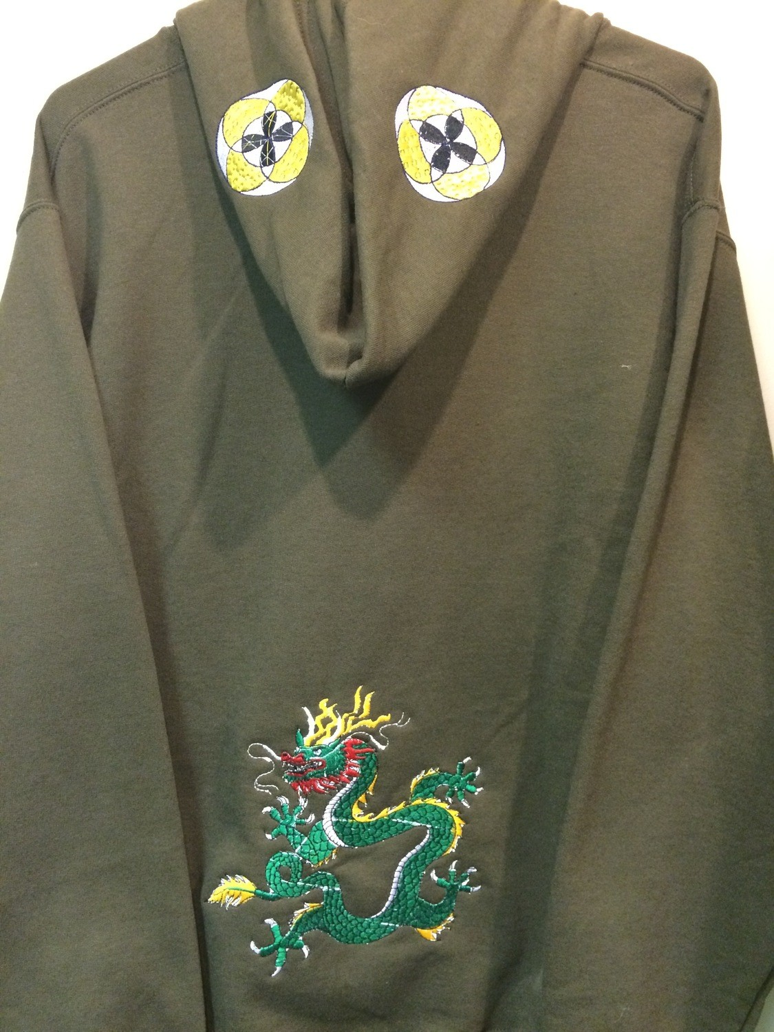 Embroidered Olive Green Hoodie - Size MEDIUM