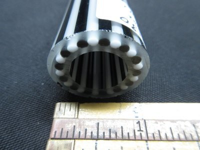 Jailhouse Black and White Vac Stack Lined Boro Tubing with Illuminati Stringers (Inside and Out)(#3130 4.8oz)