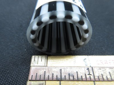 Jailhouse Black and White Vac Stack Lined Boro Tubing with Illuminati Stringers (Inside and Out)(#3131 3.4oz)