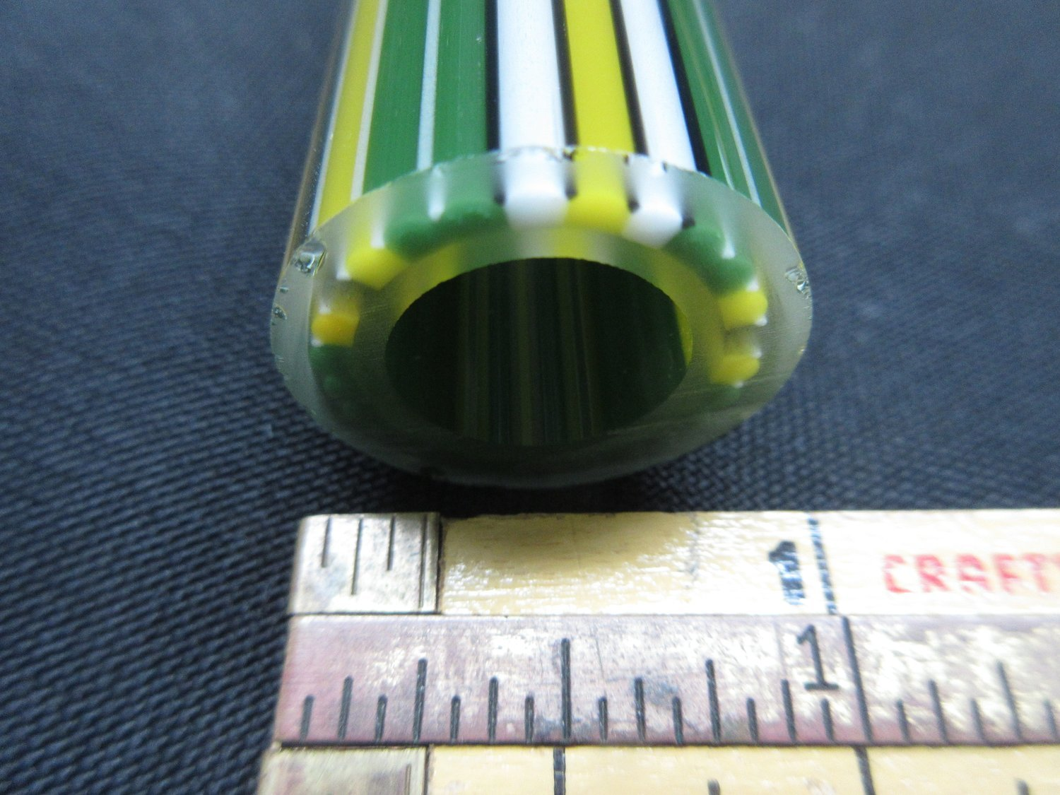 Yellow and Green with White and Papparazzi Accent Vac Stack Lined Boro Tubing w/ White and Black Stringers (#1009 3.6oz)