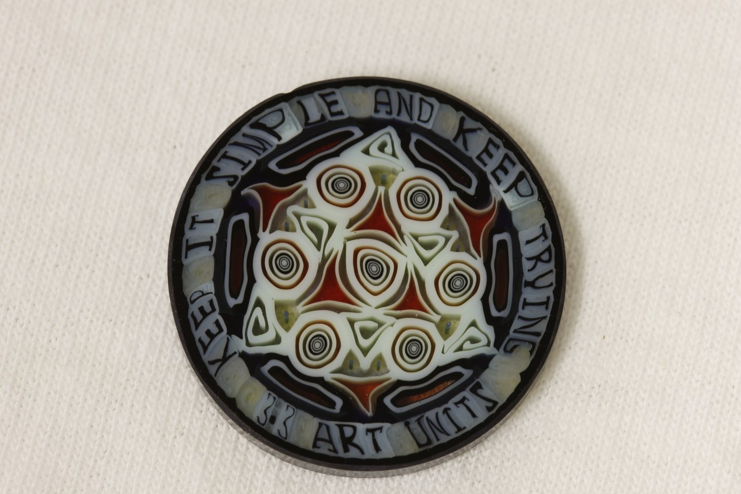 'Keep It Simple And Keep Trying' 3.3 Art Unit Project 33 Glass Murrini Coin
