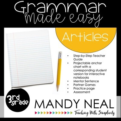 Third Grade Grammar Activities (Articles)