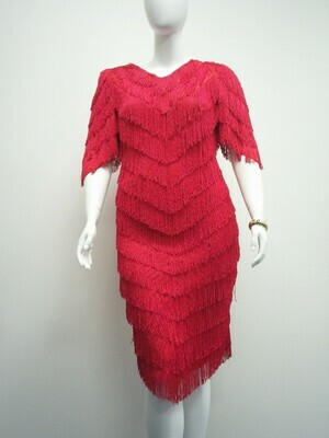 Red Fringe Party Dress