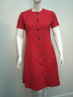 J Harlan Red and Navy button down dress