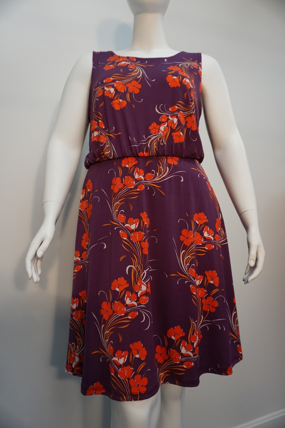 Sleeveless Purple Floral Print Dress