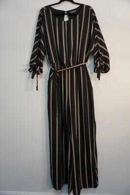 Black Stripe Tie Front Jumpsuit