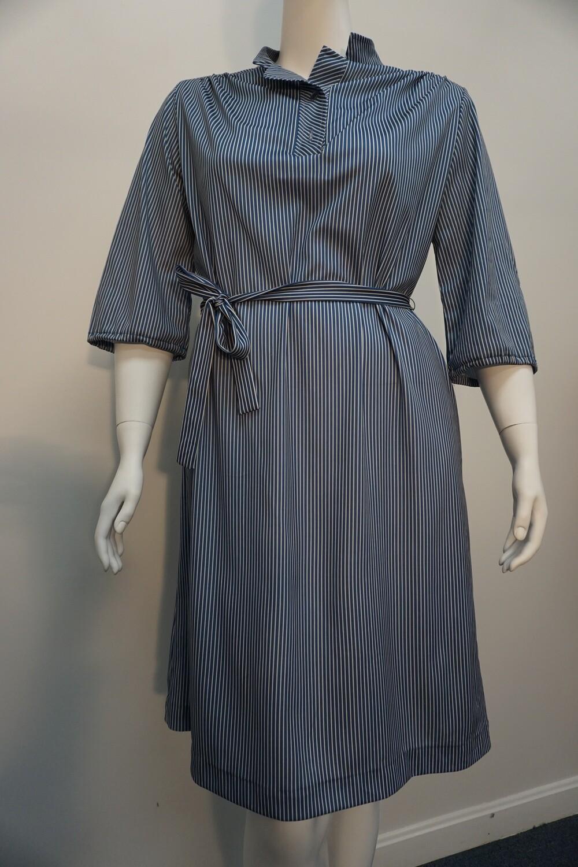 Blue Striped Belted Dress