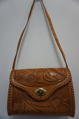 Small Tan Stamped Purse