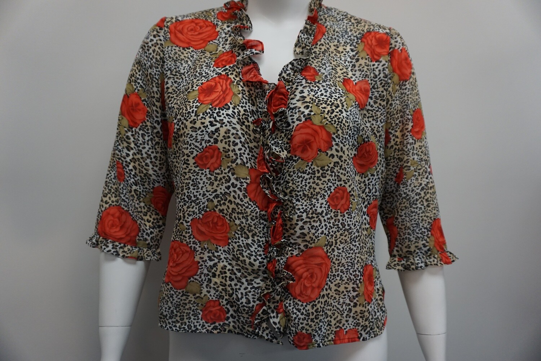 Roses and Cheetah print Blouse