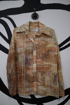 Patterned Button-Up with Sheer Burnout Stripes - Women's Size M