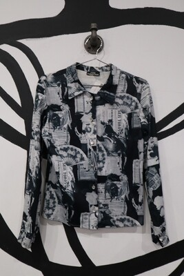 Cool Collection Newspaper Clipping Top - Women's M