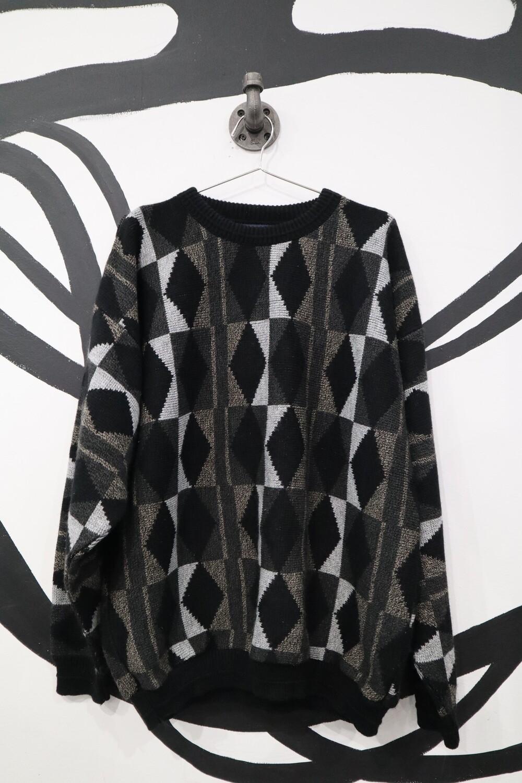 Grey and Black Geometric Print Sweater - Men's XL