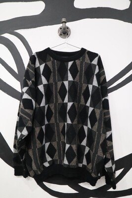 Grey and Black Geometric Print Sweater - Men's XL