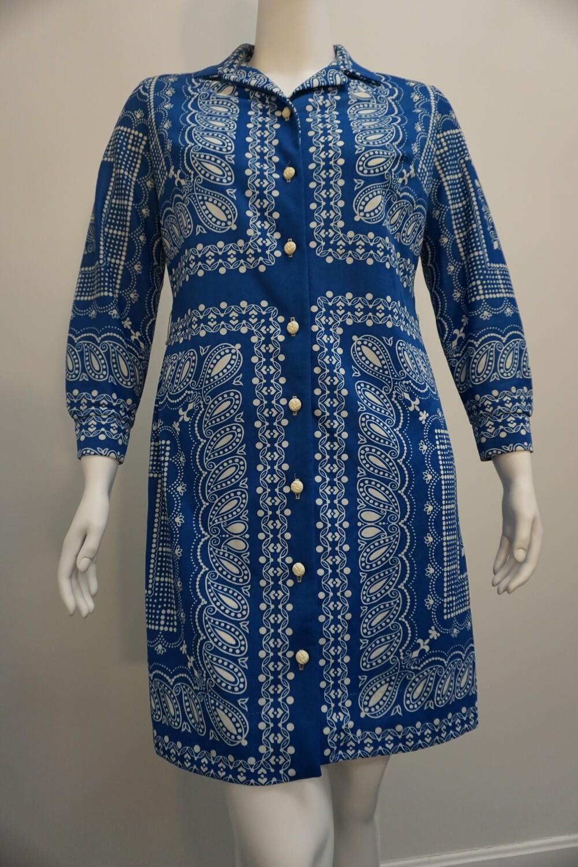 HoneyComb blue and white shirt dress