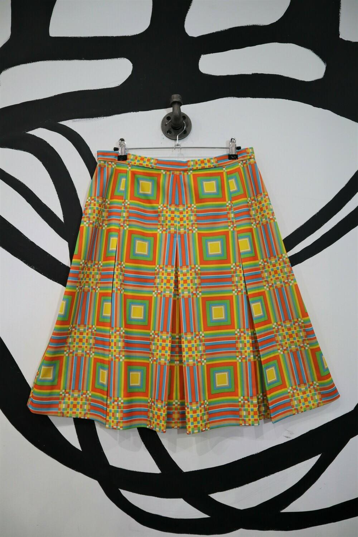 Bright Geometric Pleated Skirt - Women's Medium