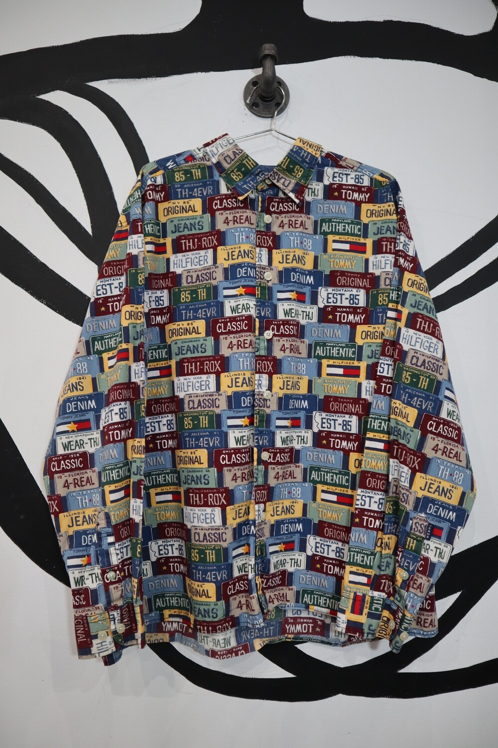 Tommy Jeans License Plate Button Up - Men's XL