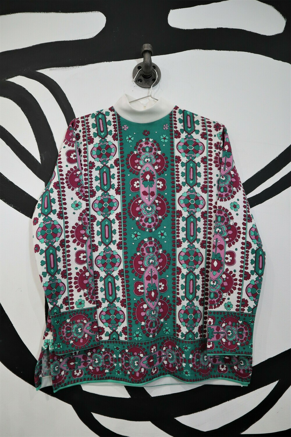 Mock Neck Printed Top - Women's Size Large
