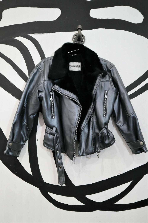 Metallic Faux Leather Motorcycle Jacket - Women's Size M