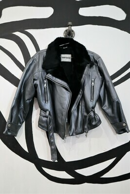 Metallic Faux Leather Motorcycle Jacket - Women's Size M