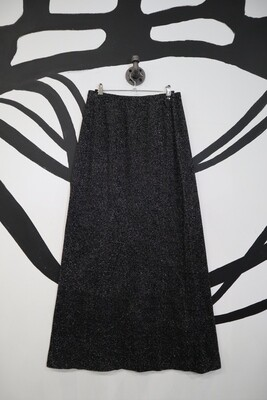 Black and Silver Glitter Maxi Skirt - Women's Size 12