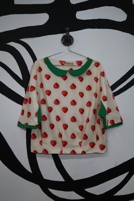 Strawberry Print Shirt - Women's Large