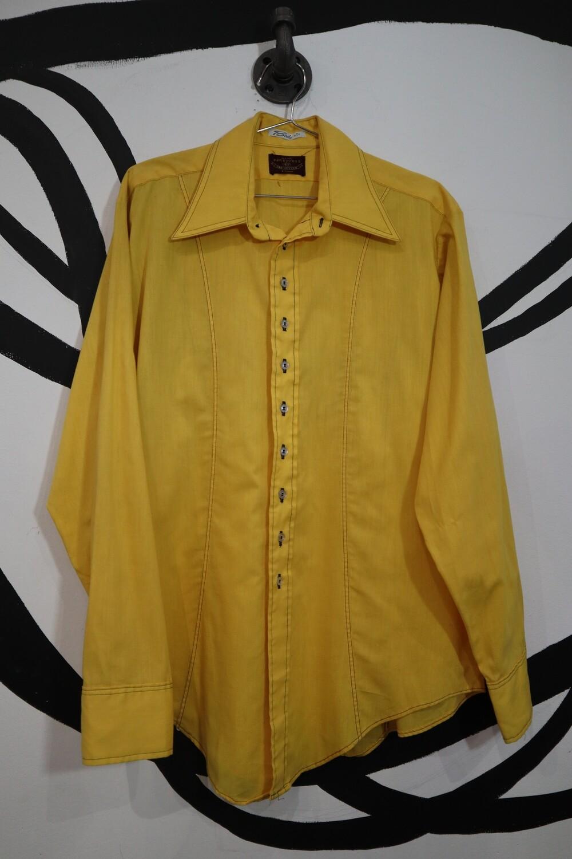 1960's Van Heusen Yellow Button Up - Men's Medium