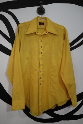 1960's Van Heusen Yellow Button Up - Men's Medium
