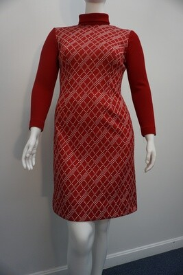 Red and White Mock Turtleneck Dress