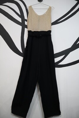 Gold Tinsel and Black Pant Jumpsuit - Women's Size 14