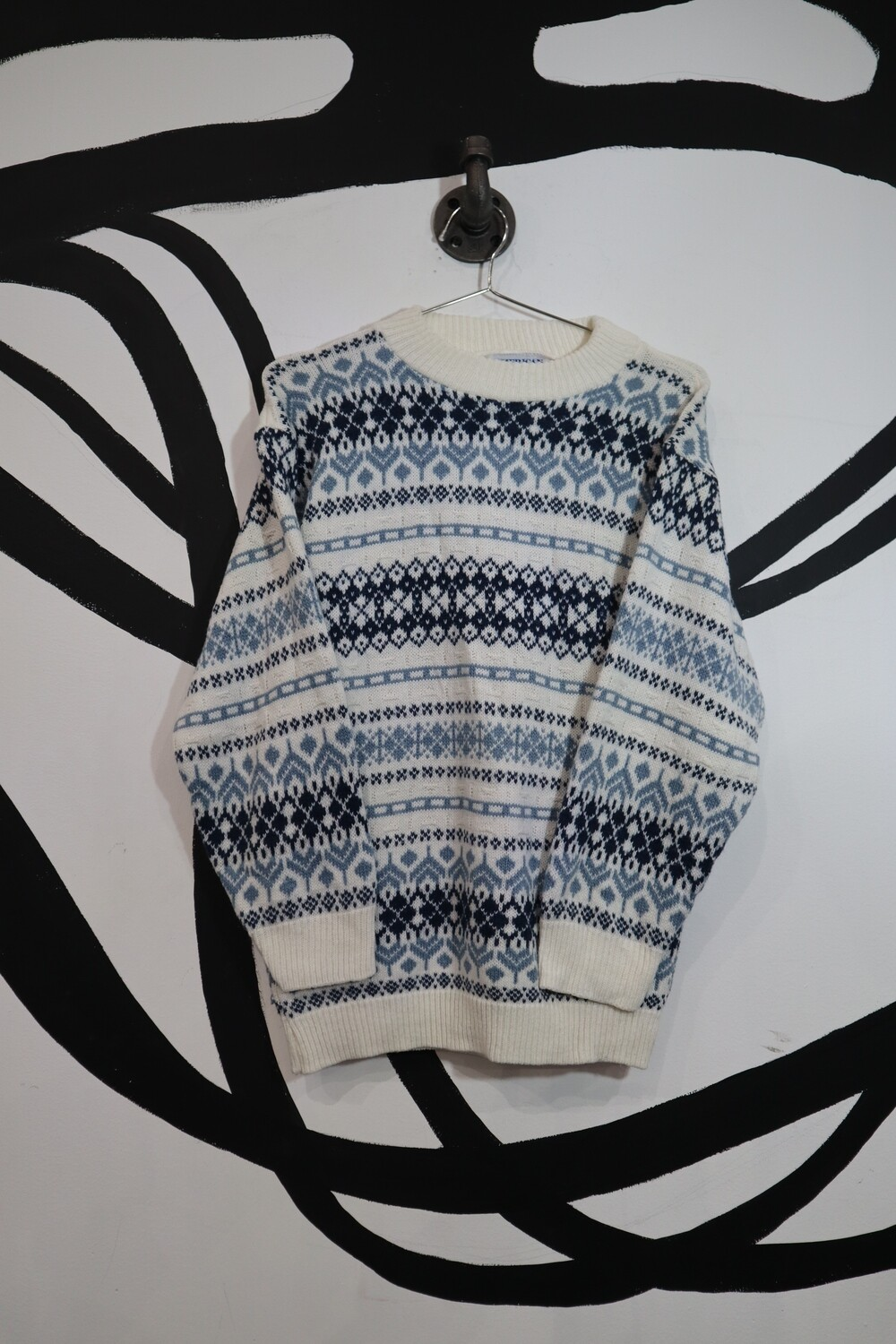 American Pride White and Blue Patterned Sweater - Men's S
