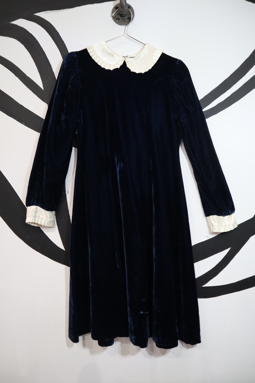 Navy Velvet Dress with Cream Satin Peter Pan Collar - Size 14