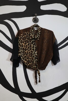 Sheer Sleeve Mixed Animal Print Blouse with Tie Front - Large