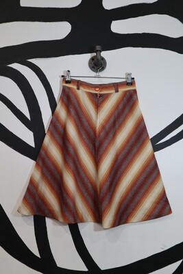 Diagonal Stripe Front Zip A-Line Skirt - Size 9/10