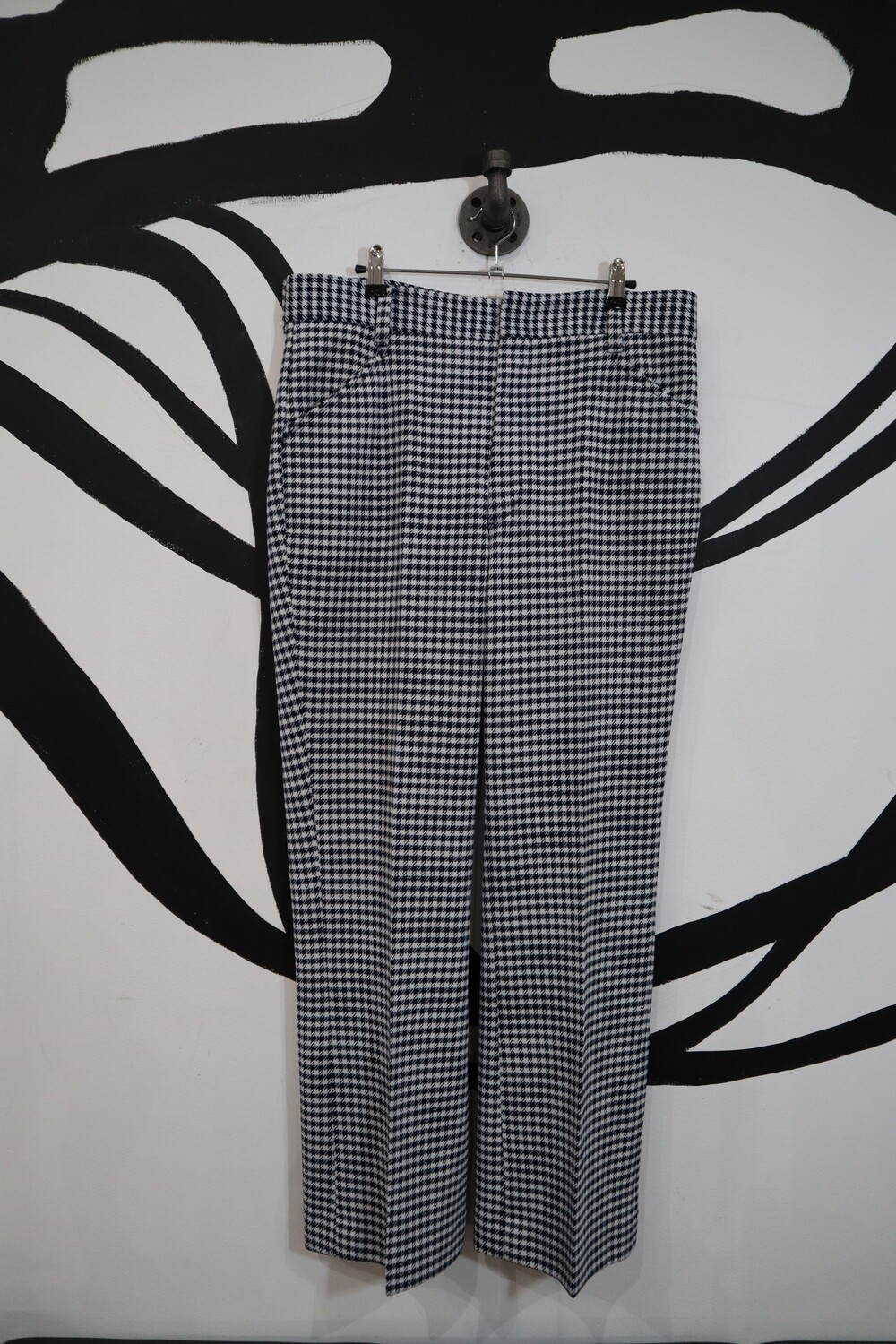 Navy Blue/White Gingham Slacks - Men's 36