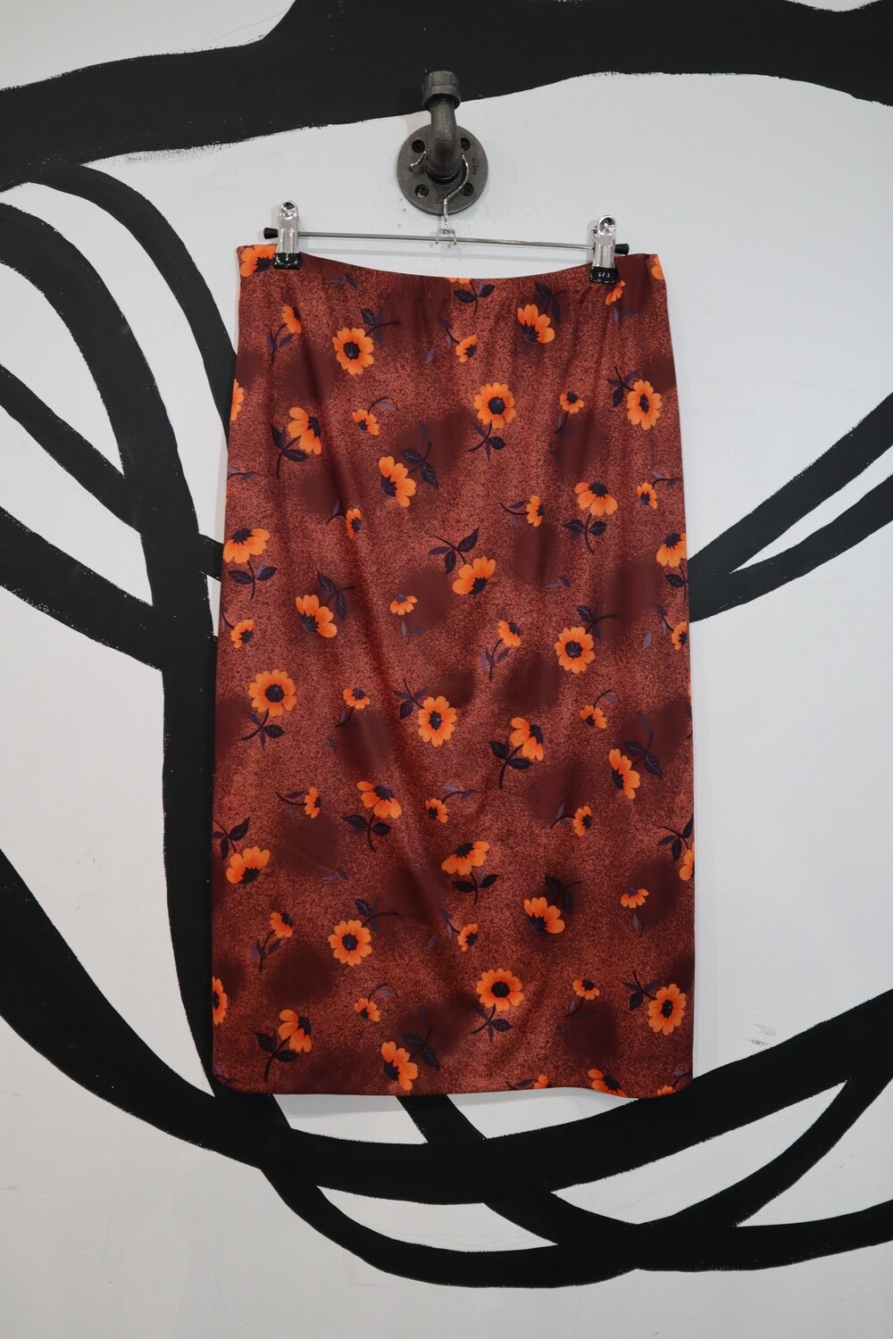 Lightweight Floral Printed Stretch Skirt - Size M