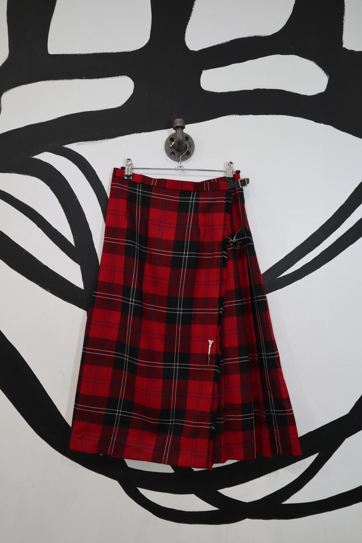 Wool Tartan Skirt With Vegan Leather Buckle - Size 8P