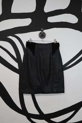 Chia Leather Miniskirt with Suede Darting - Size 10