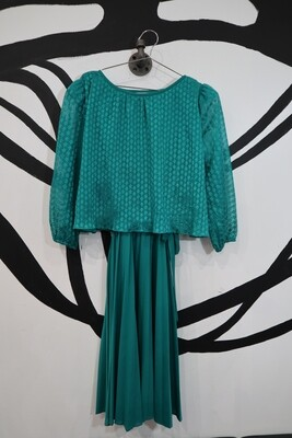 Pleated Tie-Waist Dress With Sheer Top Overlay - Size L