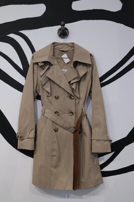 Guess A-Line Trench Coat with Ruffle Detail - Women's M