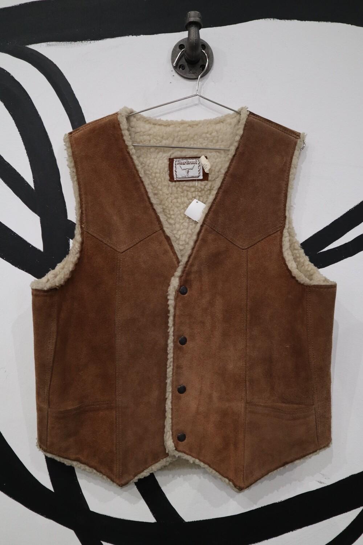 Steer Brand Suede Shearling Vest - Men's Large
