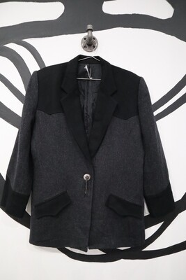 Charcoal and Black Western Style Wool Women's Blazer - Size 10