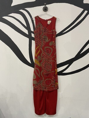 Red Jumpsuit with Sheer Patterned Dress Overlay - Size 8