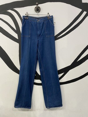 Wide Leg Patch Pocket Jeans With Elastic Waistband in Blue - Size 15/16