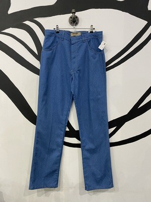 Deadstock Wrangler Authentics Blue Denim Straight Leg Slacks in Classic Blue - Size 36 x 34