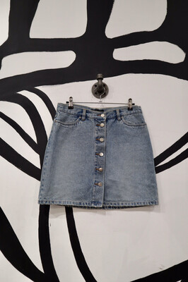 Button Front Denim Mini Skirt - Women's Size 6