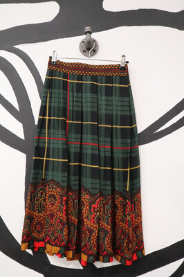 Pleated Mixed Paisley and Plaid Skirt - Size S