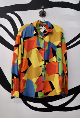 Colorful 80's Blouse - Women's Size Large